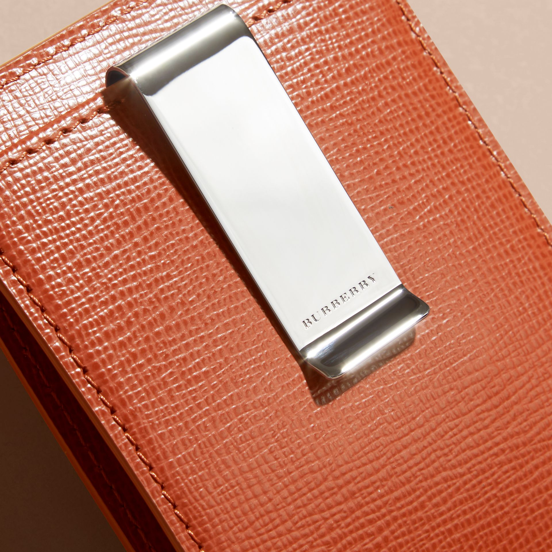 London Leather Money Clip Card Case in Burnt Sienna - gallery image 2