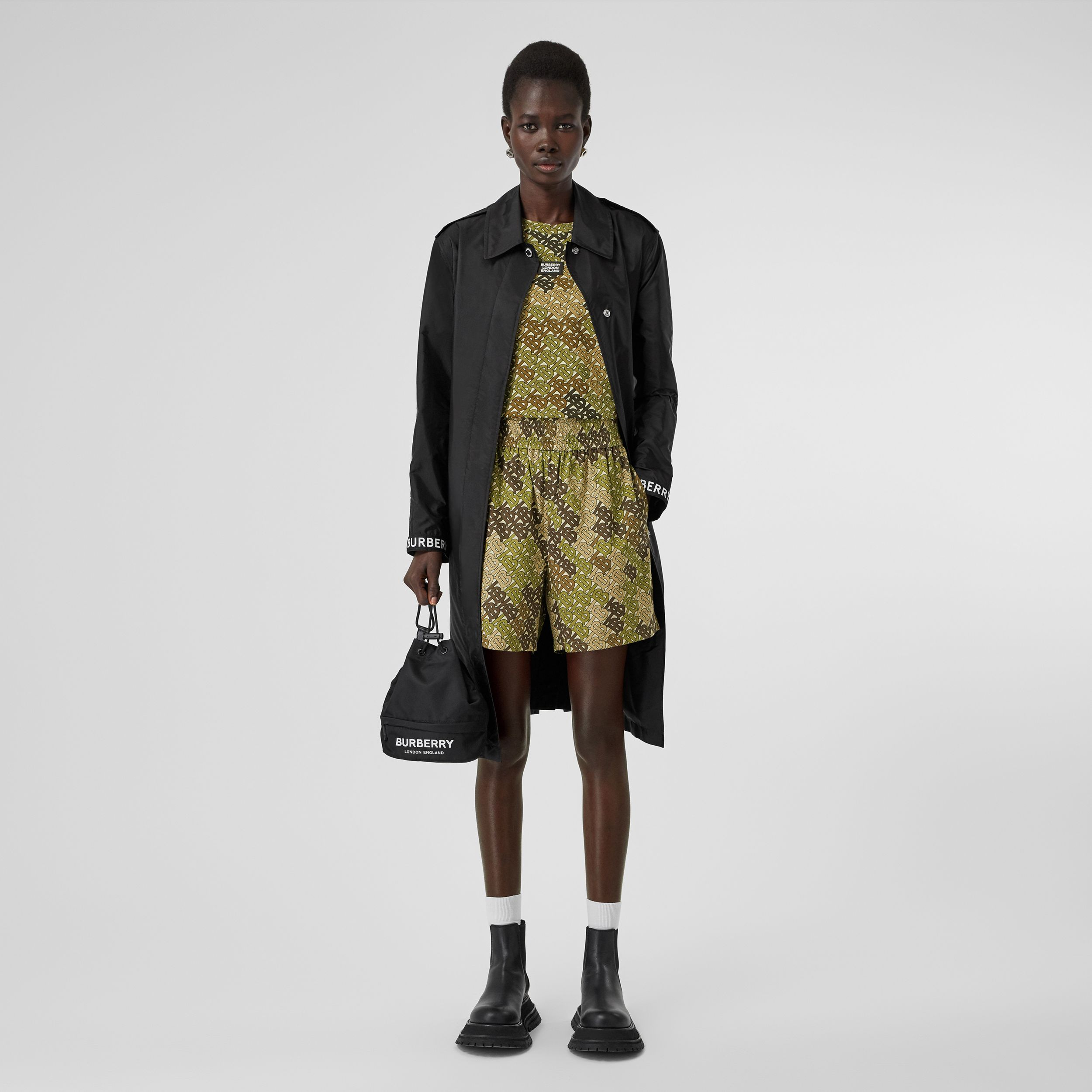 Monogram Print Cotton Poplin Shorts in Khaki Green | Burberry - 1
