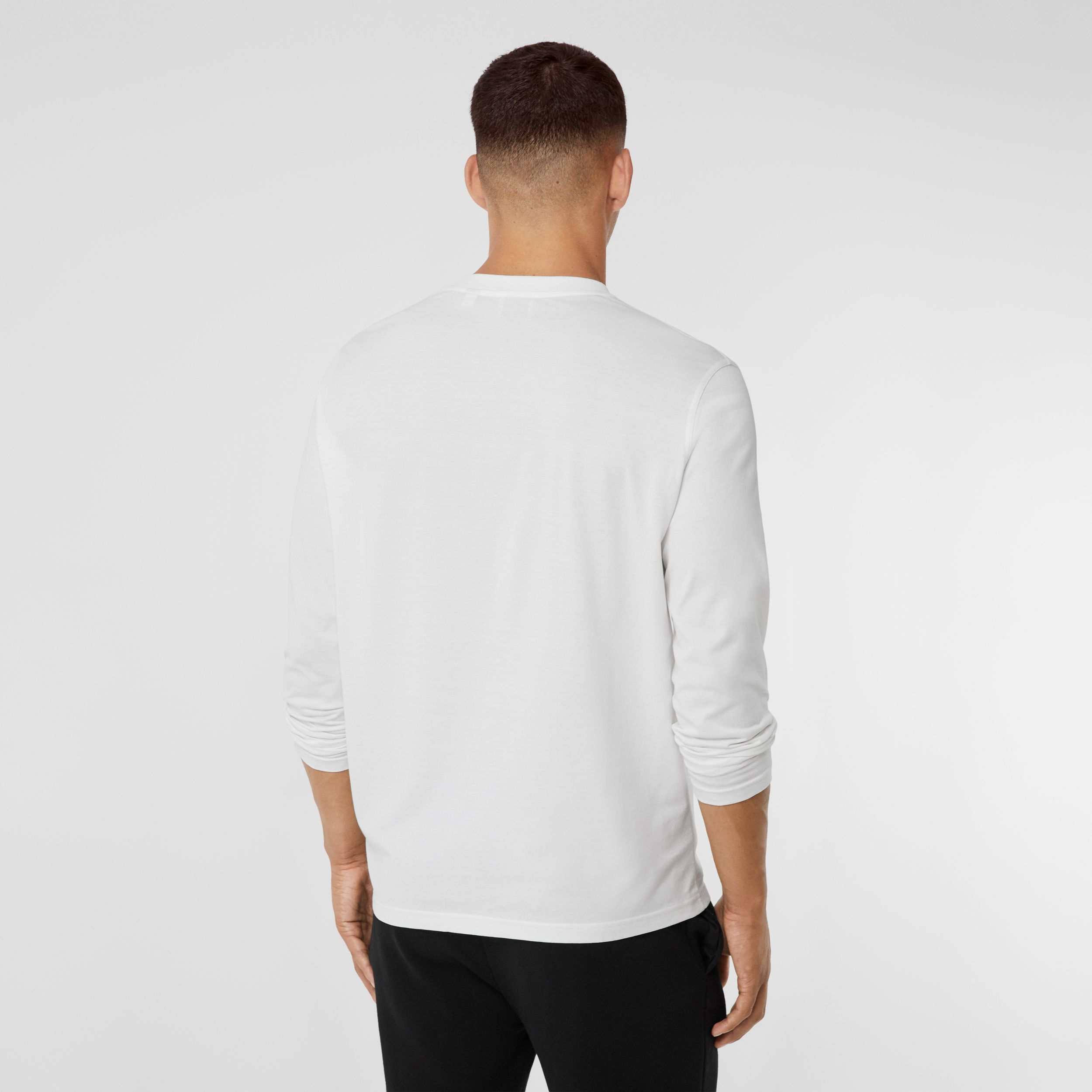 Long-sleeve Monogram Motif Cotton Top in White - Men | Burberry - 3