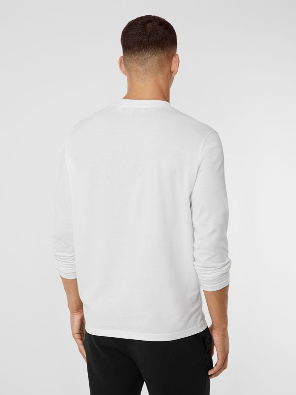 Long-sleeve Monogram Motif Cotton Top in White - Men | Burberry - cell image 2
