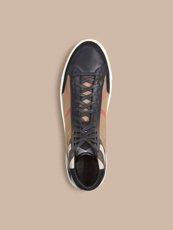 House Check and Leather High-top Trainers in Black - Men | Burberry - cell image 2