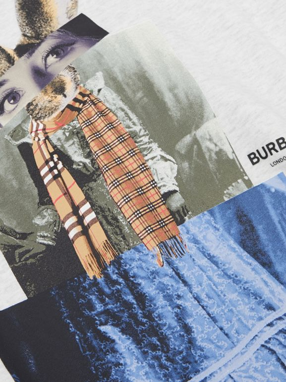 Collage Print Cotton Blend Sweater Dress in White Melange | Burberry - cell image 1