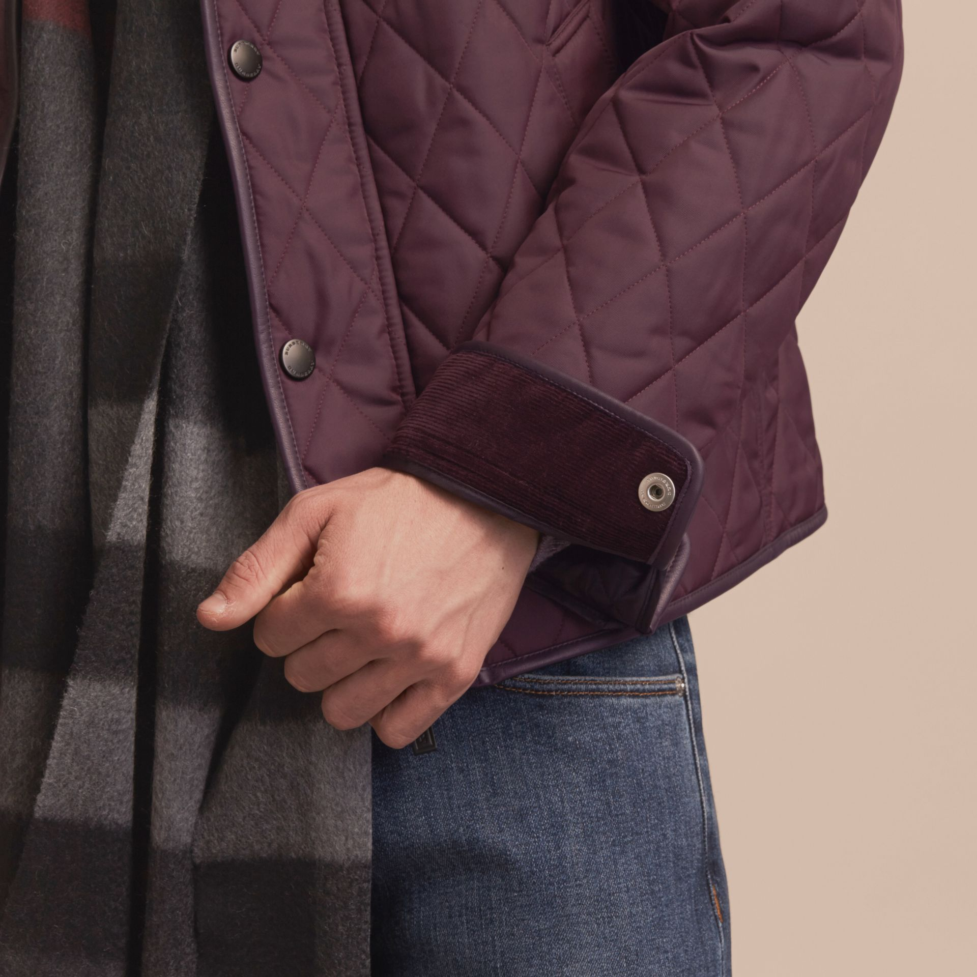Leather Piping Corduroy Collar Quilted Jacket Claret - gallery image 6