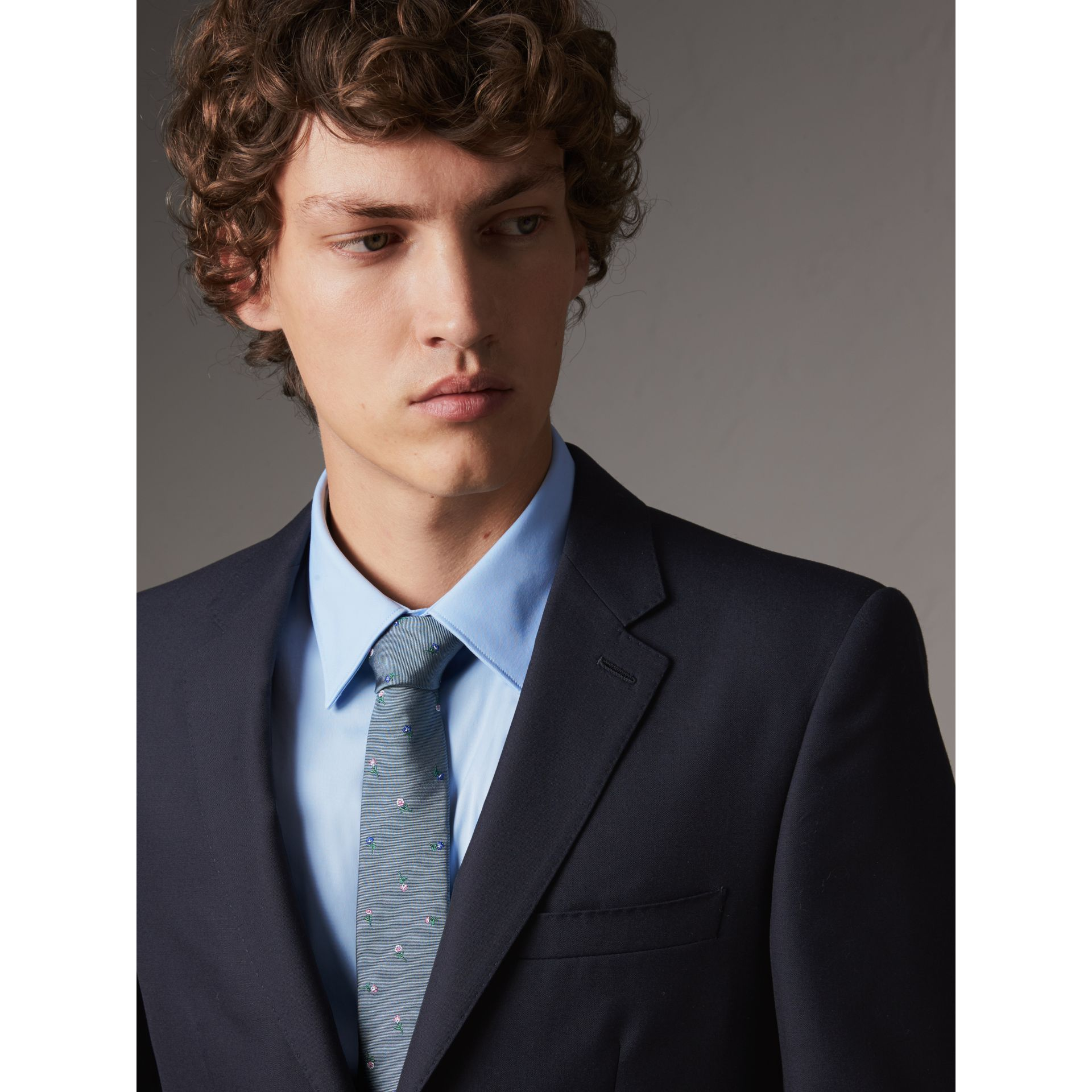 Slim Fit Wool Part-canvas Suit in Navy - Men | Burberry Canada - gallery image 5