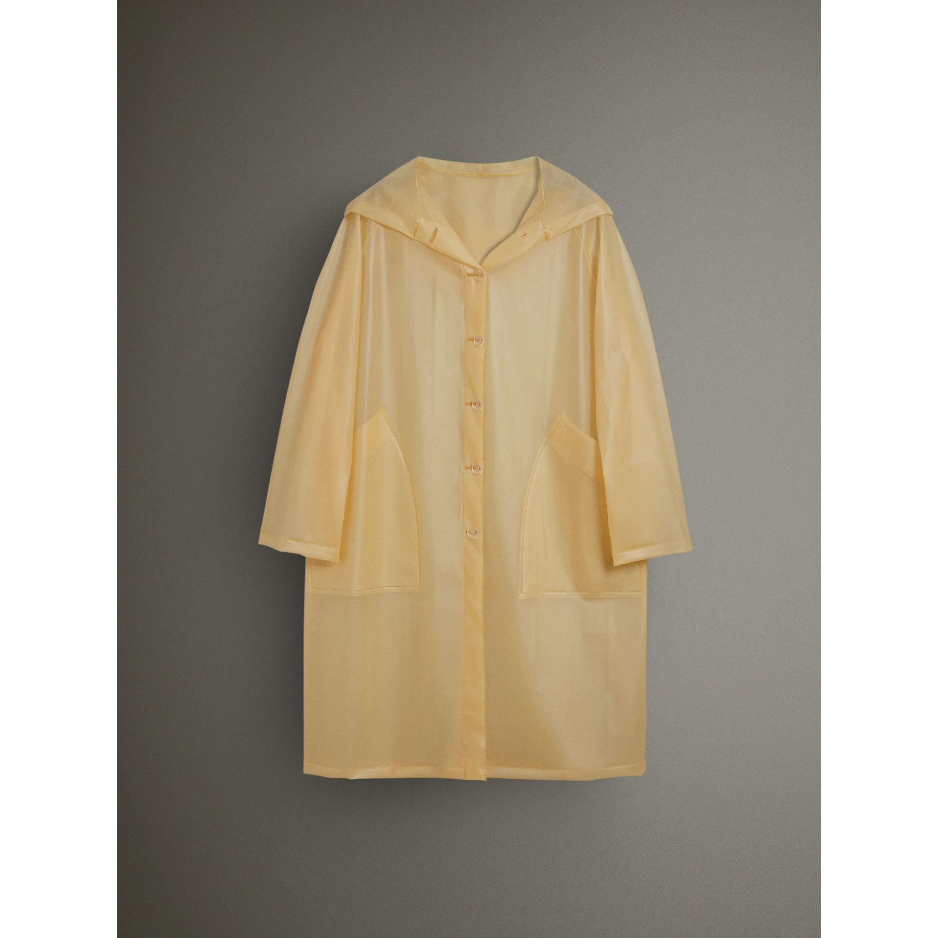 Soft-touch Plastic Hooded Car Coat in Antique Yellow - Women | Burberry - gallery image 3