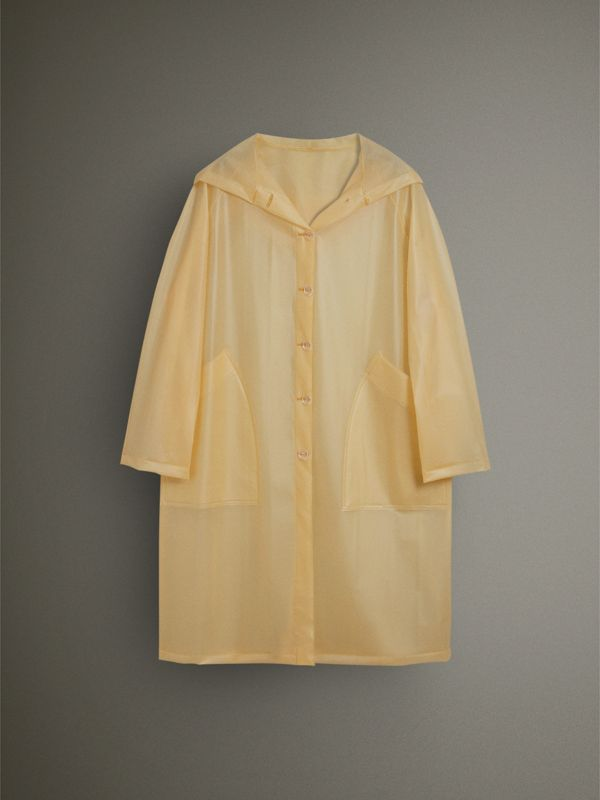 Soft-touch Plastic Hooded Car Coat in Antique Yellow - Women | Burberry - cell image 3