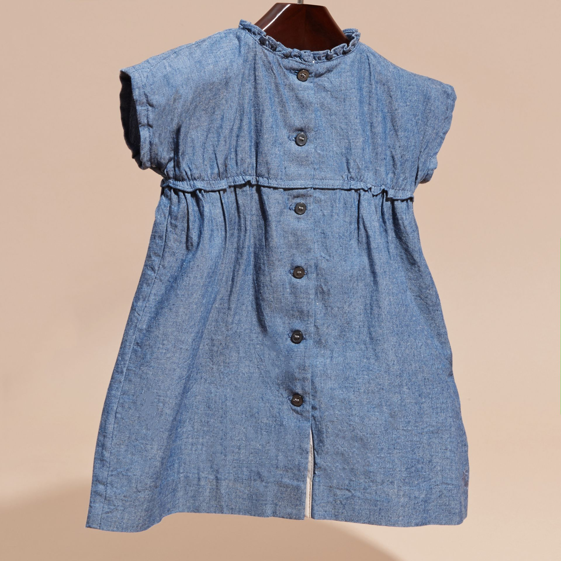 Ruffle Detail Cotton Chambray Dress and Bloomers - gallery image 3