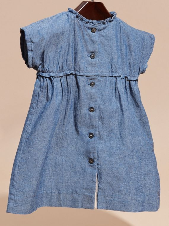 Ruffle Detail Cotton Chambray Dress and Bloomers - cell image 2