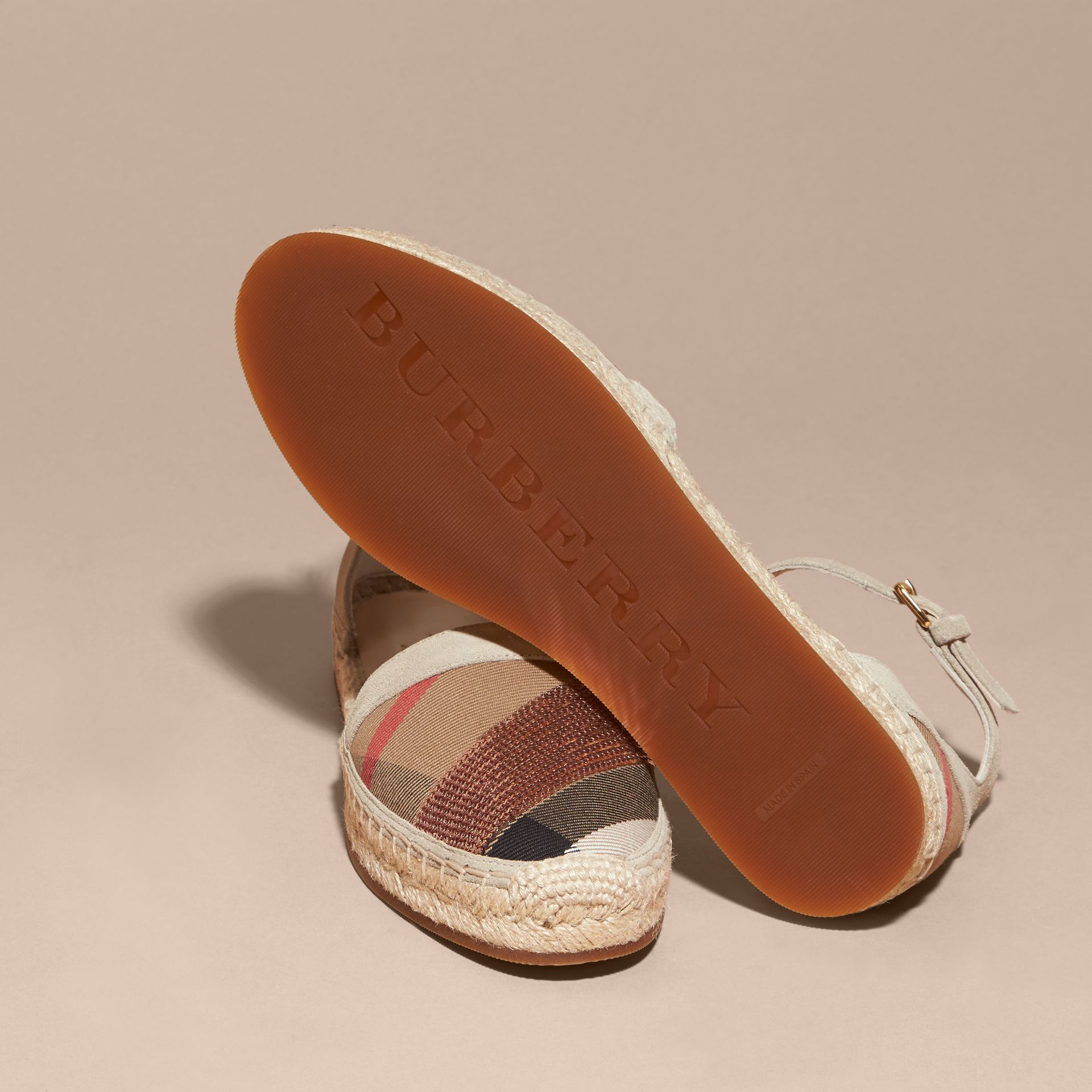 House check/pale pink Sequinned Leather and House Check Espadrille Sandals Check/pale Pink - gallery image 5
