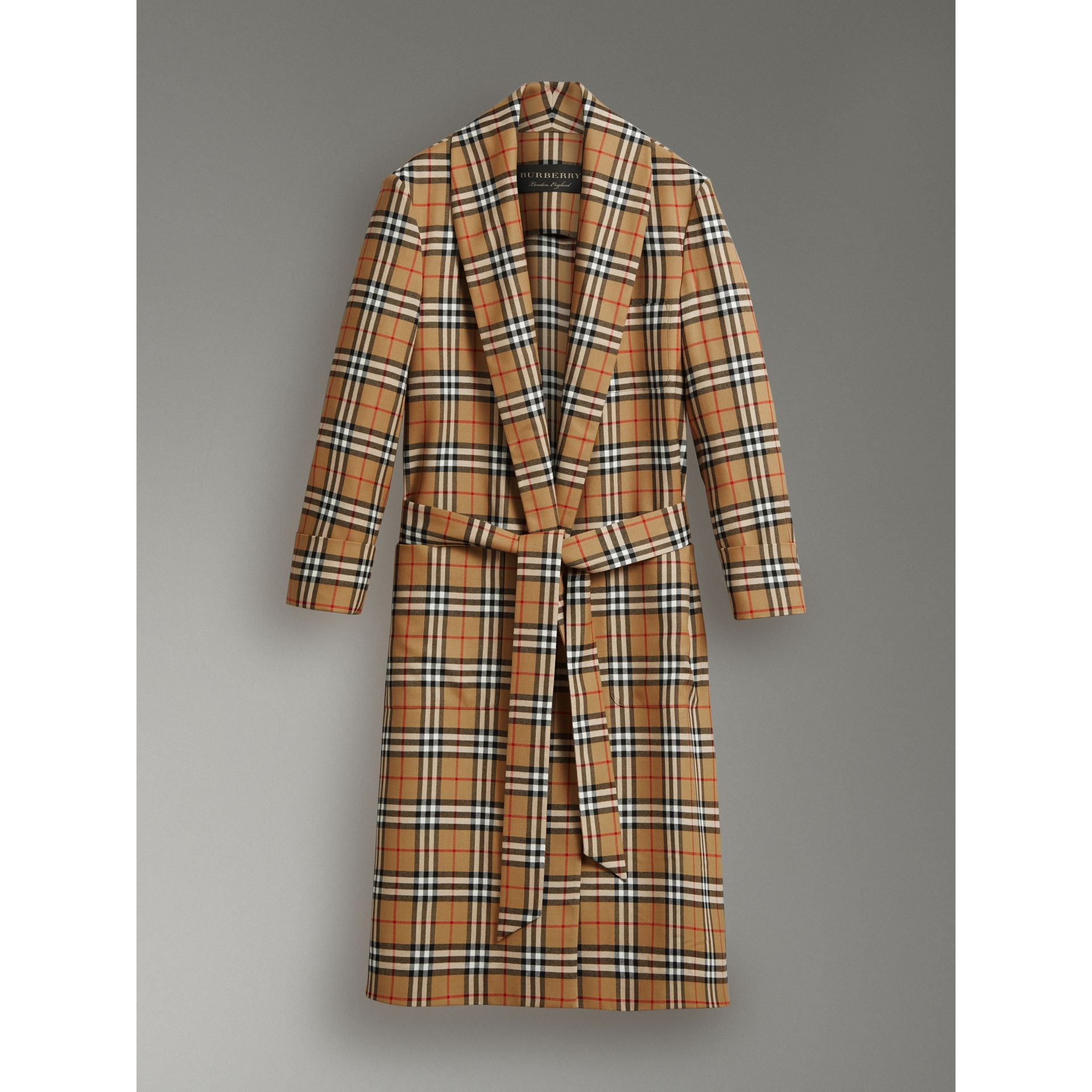 Reissued Vintage Check Dressing Gown Coat in Antique Yellow - Men | Burberry Australia - gallery image 3