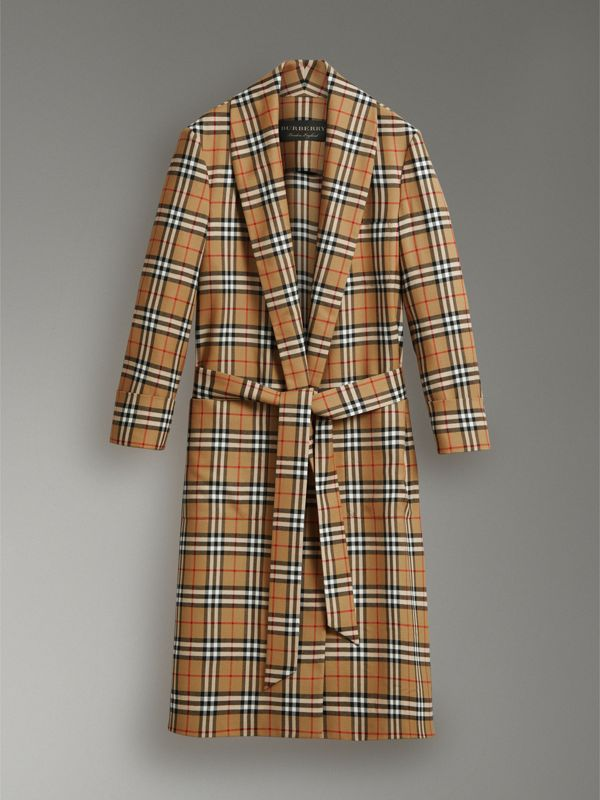 Reissued Vintage Check Dressing Gown Coat in Antique Yellow - Men | Burberry Australia - cell image 3