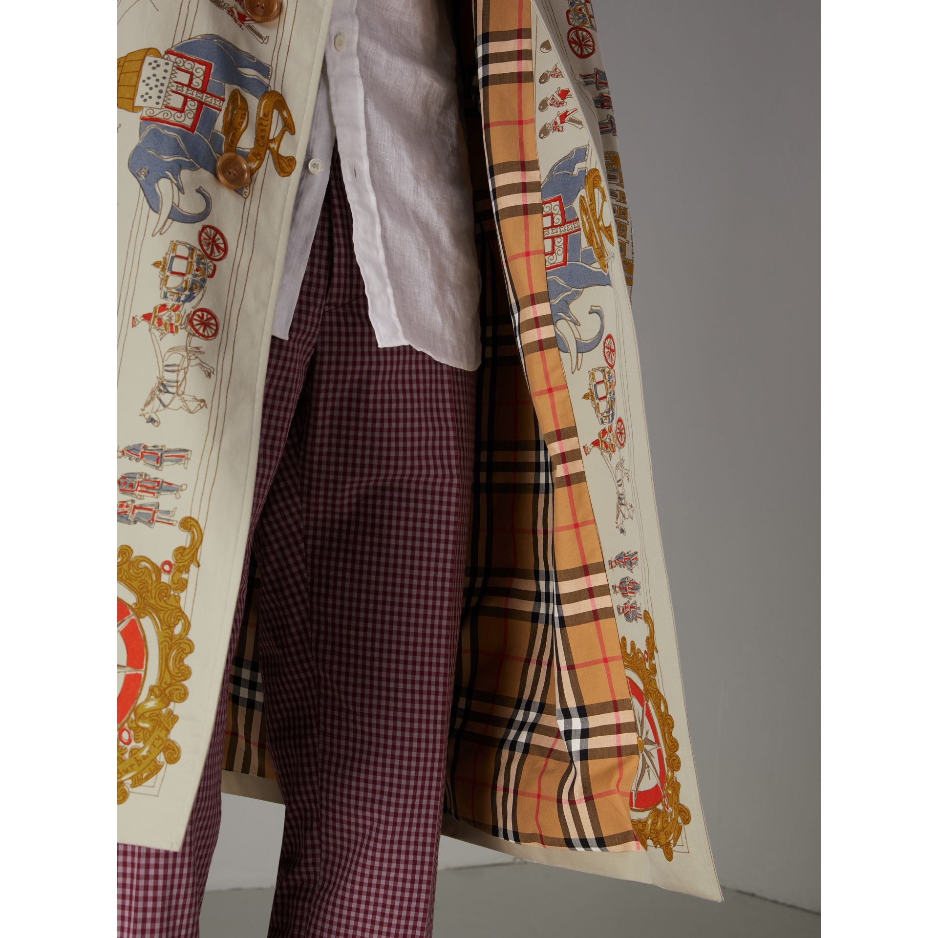 London Sketch Print Car Coat in Stone - Men | Burberry - gallery image 1