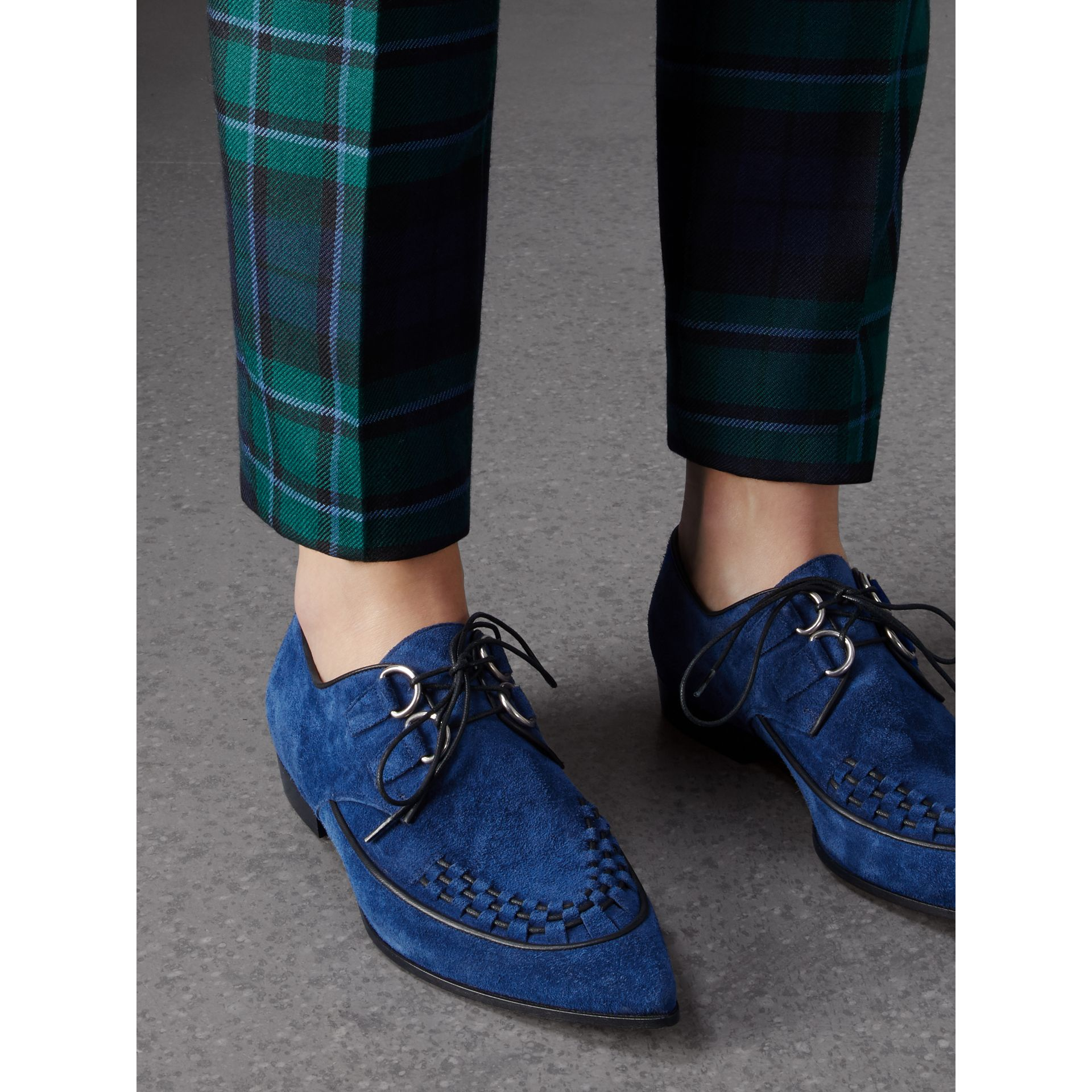 Woven-toe Suede Derby Shoes in Brilliant Blue - Women | Burberry Canada - gallery image 2