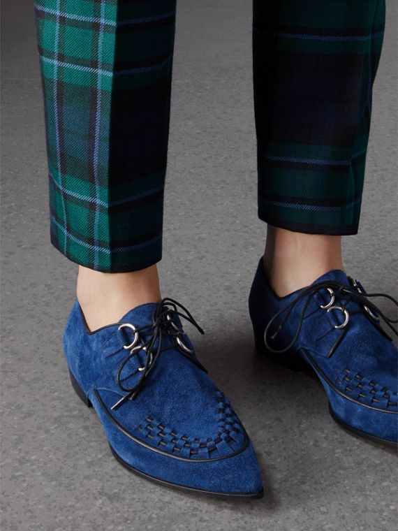 Woven-toe Suede Derby Shoes in Brilliant Blue - Women | Burberry - cell image 2