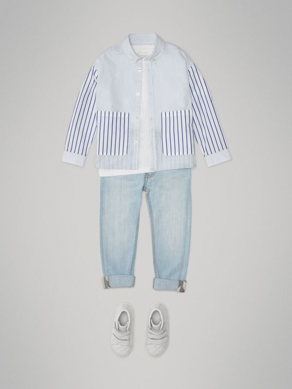 Contrast Stripe Cotton Shirt in Light Blue - Children | Burberry - cell image 2