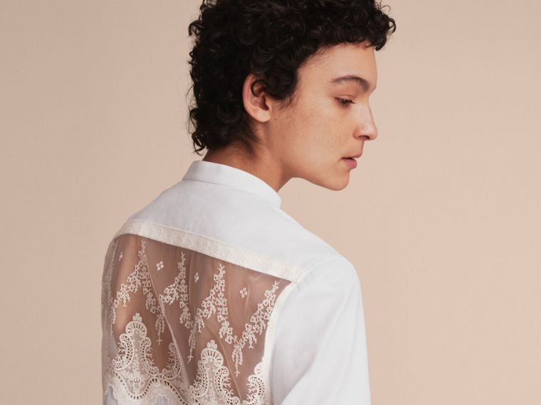 Lace Cutwork Cotton Shirt Dress in White - Women | Burberry - cell image 4