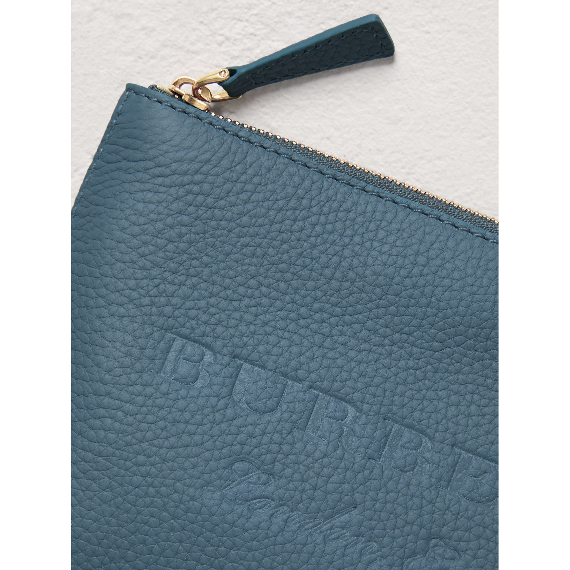 Medium Embossed Leather Zip Pouch in Dusty Teal Blue | Burberry - gallery image 1