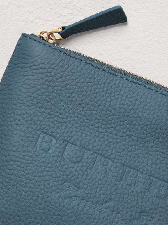 Medium Embossed Leather Zip Pouch in Dusty Teal Blue | Burberry - cell image 1