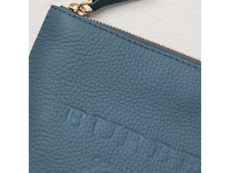 Medium Embossed Leather Zip Pouch in Dusty Teal Blue | Burberry Canada - cell image 1