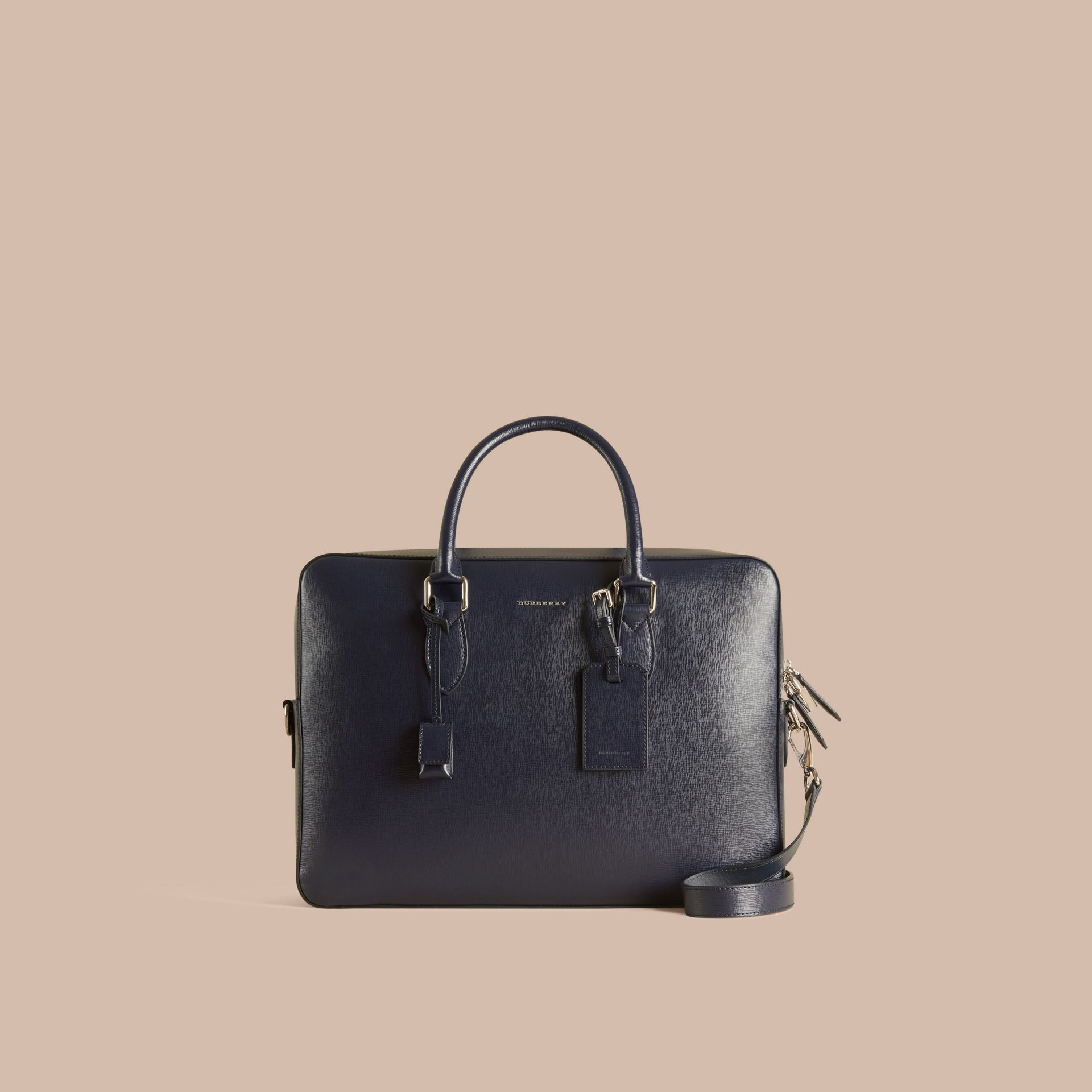 Large London Leather Briefcase in Dark Navy - gallery image 7