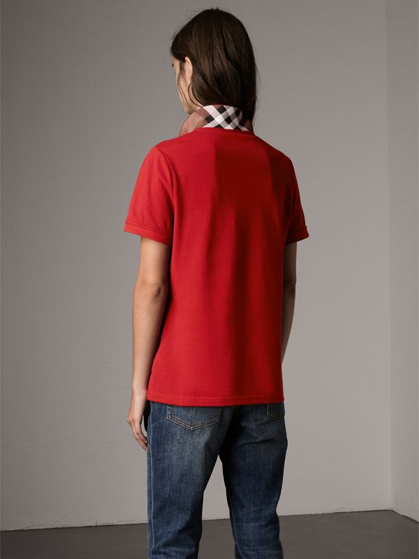 Check Trim Stretch Cotton Piqué Polo Shirt in Military Red - Women | Burberry - cell image 2