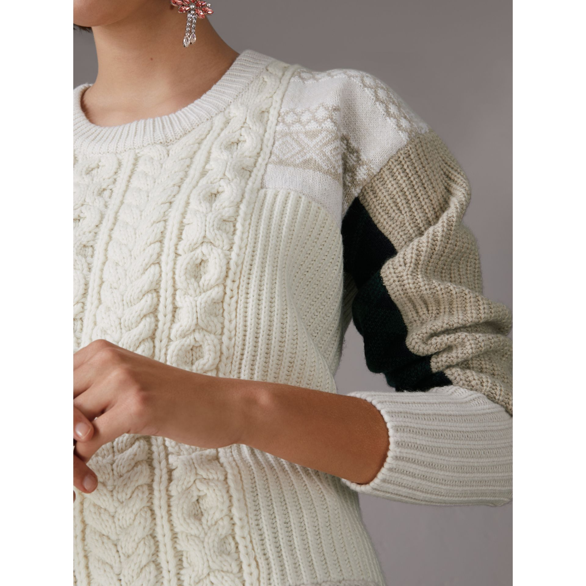Colour Block Fair Isle and Cable Knit Wool Cashmere Sweater in Ivory - Women | Burberry - gallery image 1