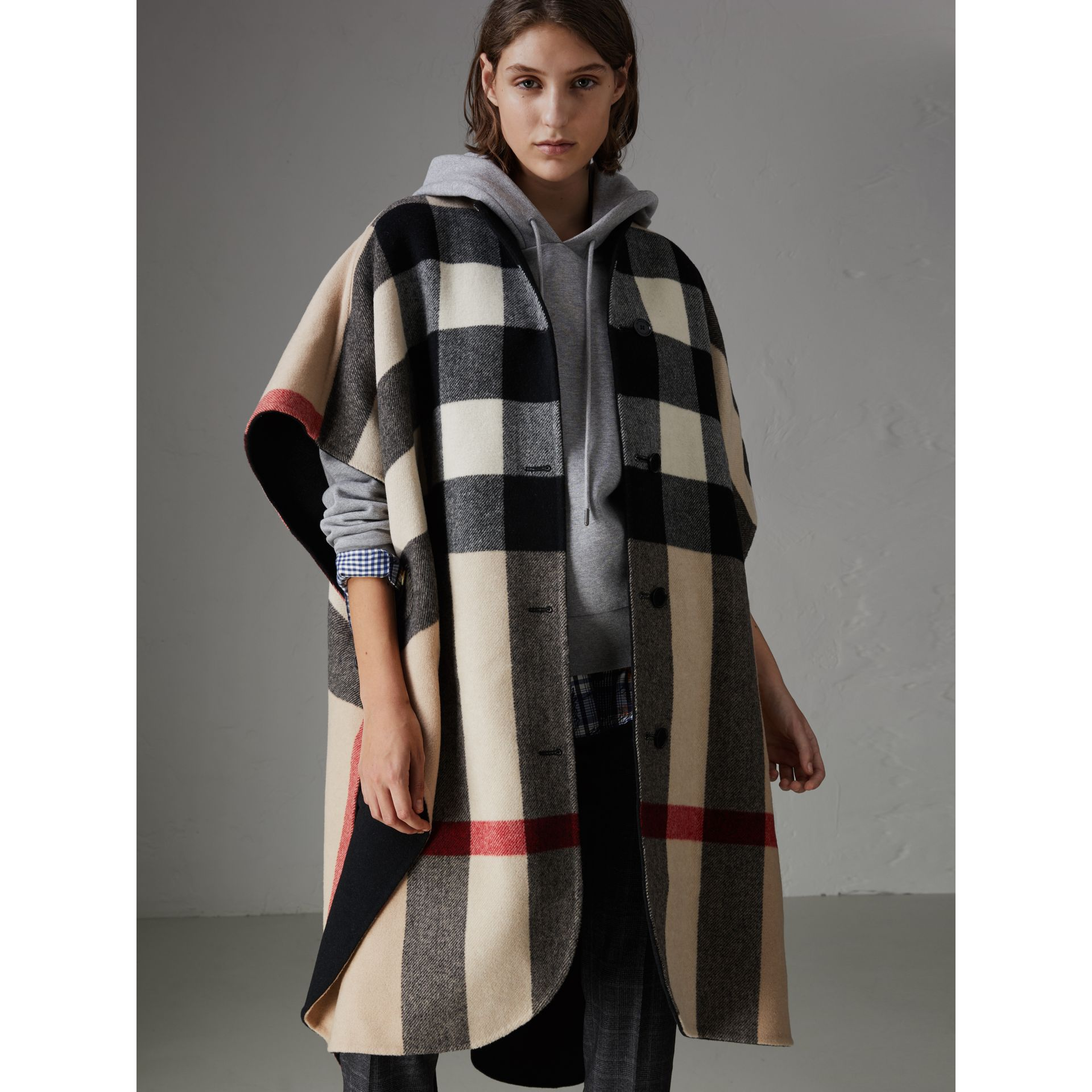 Reversible Check Oversized Poncho in Black - Women | Burberry - gallery image 4
