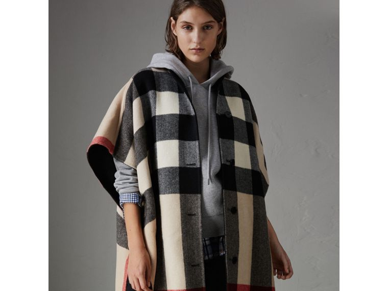 Reversible Check Oversized Poncho in Black - Women | Burberry - cell image 4