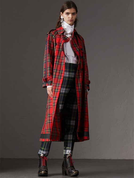 Tartan Cotton Gabardine Trench Coat in Bright Red