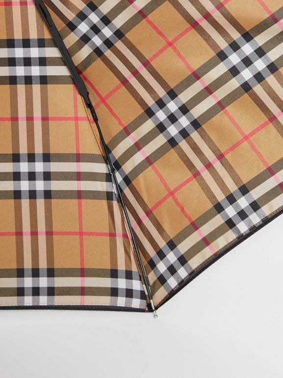 Vintage Check-lined Folding Umbrella in Black | Burberry United States - cell image 1