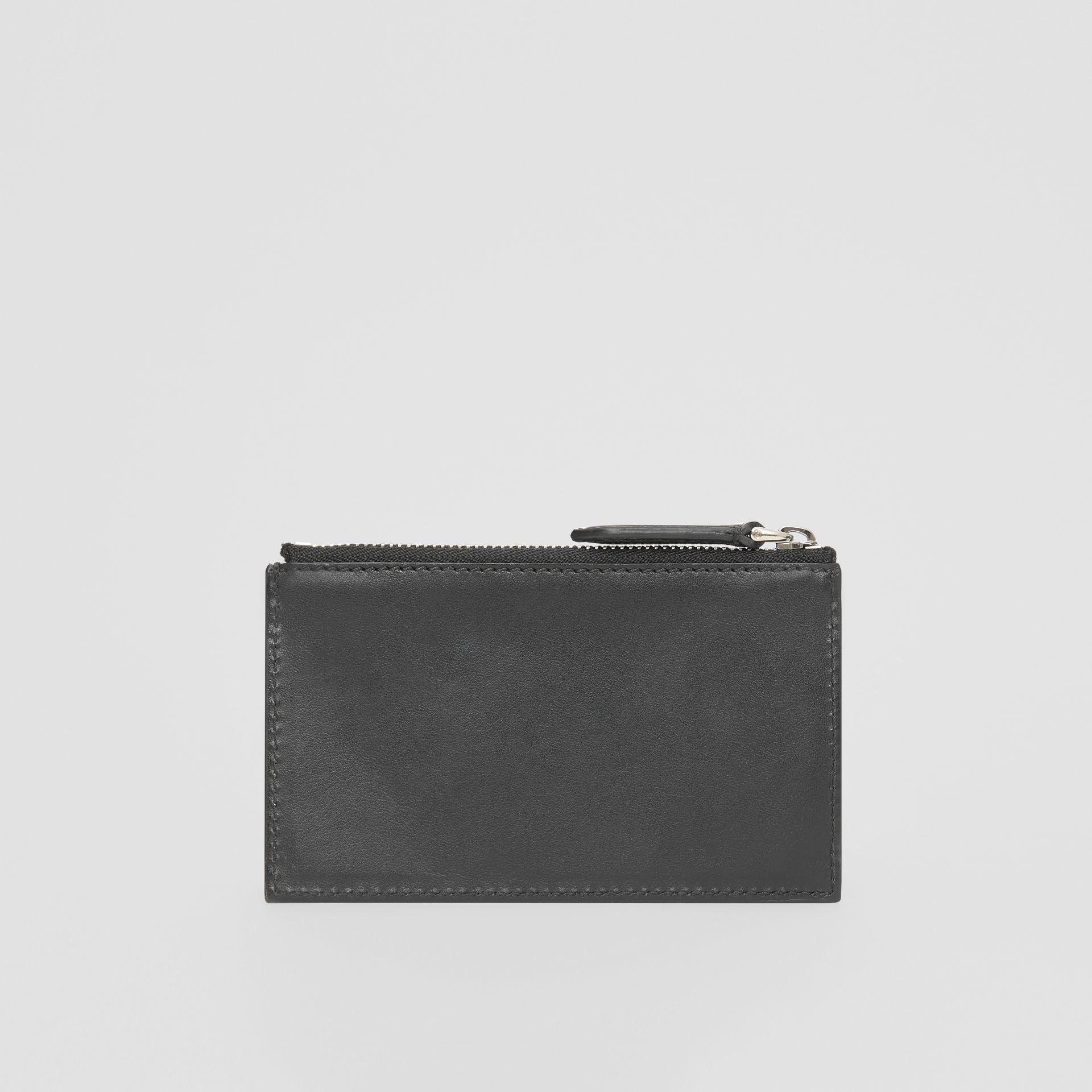 Logo Print Leather Zip Card Case in Black - Men | Burberry Canada - gallery image 4