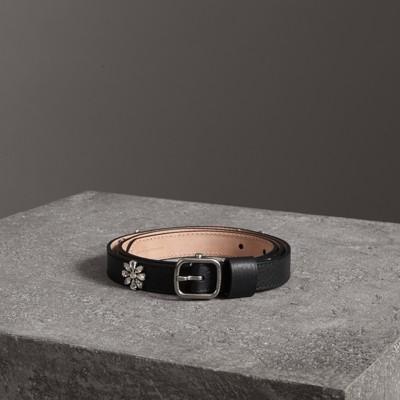 Cintura in pelle con margherite di cristallo (Nero)