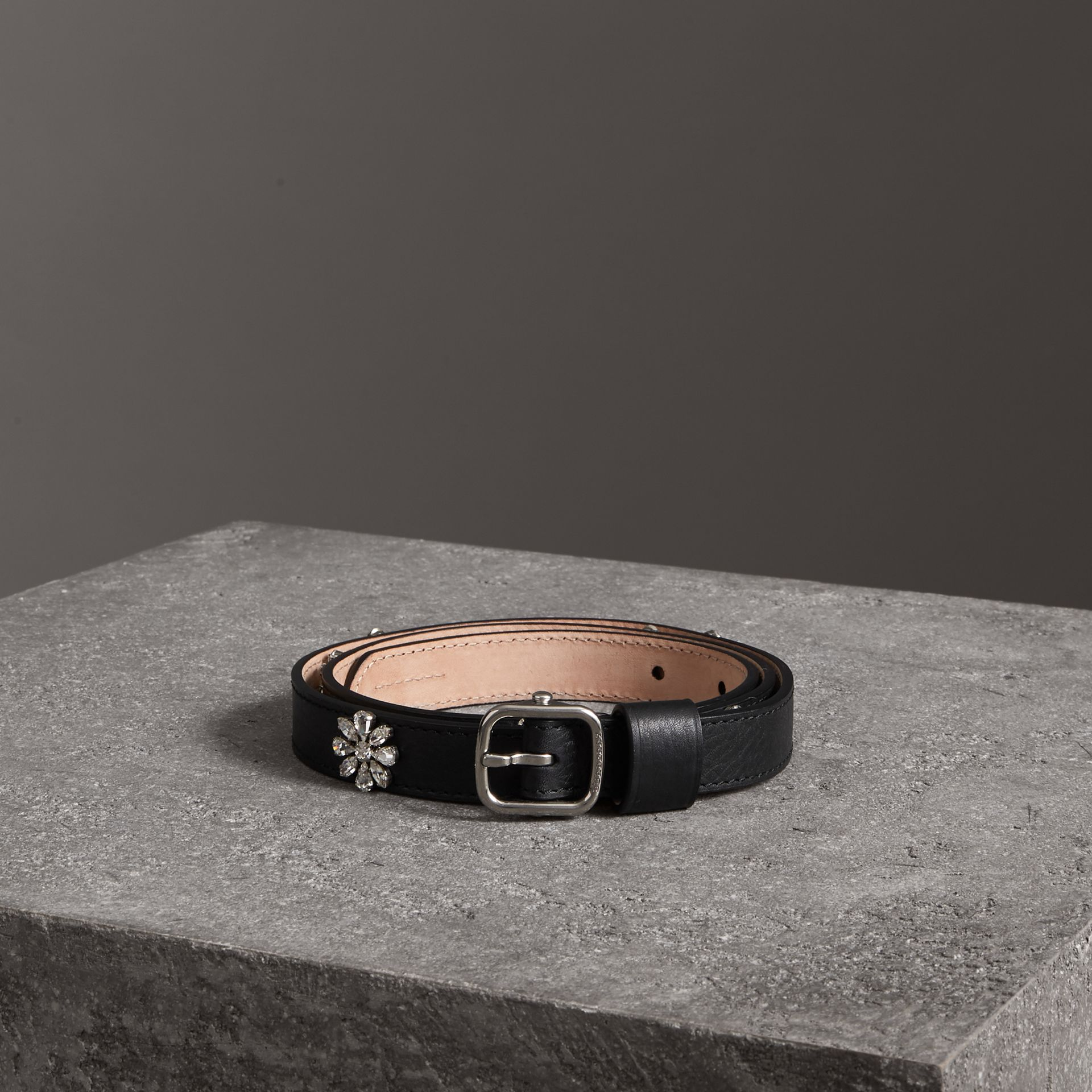 Crystal Daisy Leather Belt in Black - Women | Burberry - gallery image 0