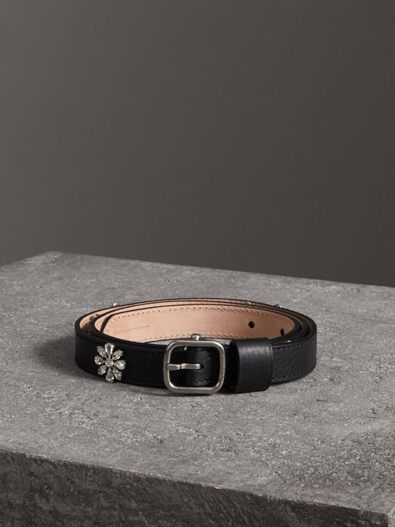 Crystal Daisy Leather Belt in Black