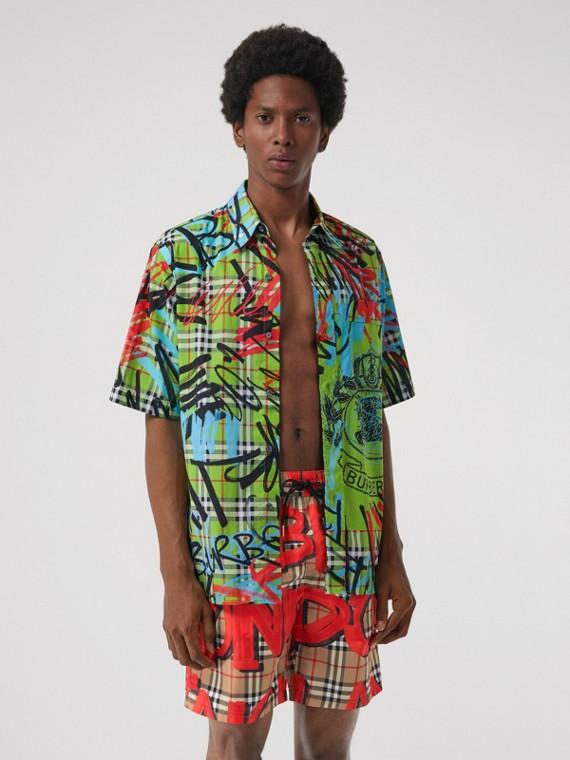 塗鴉印花 Vintage 格紋抽繩式泳褲 (亮軍紅)