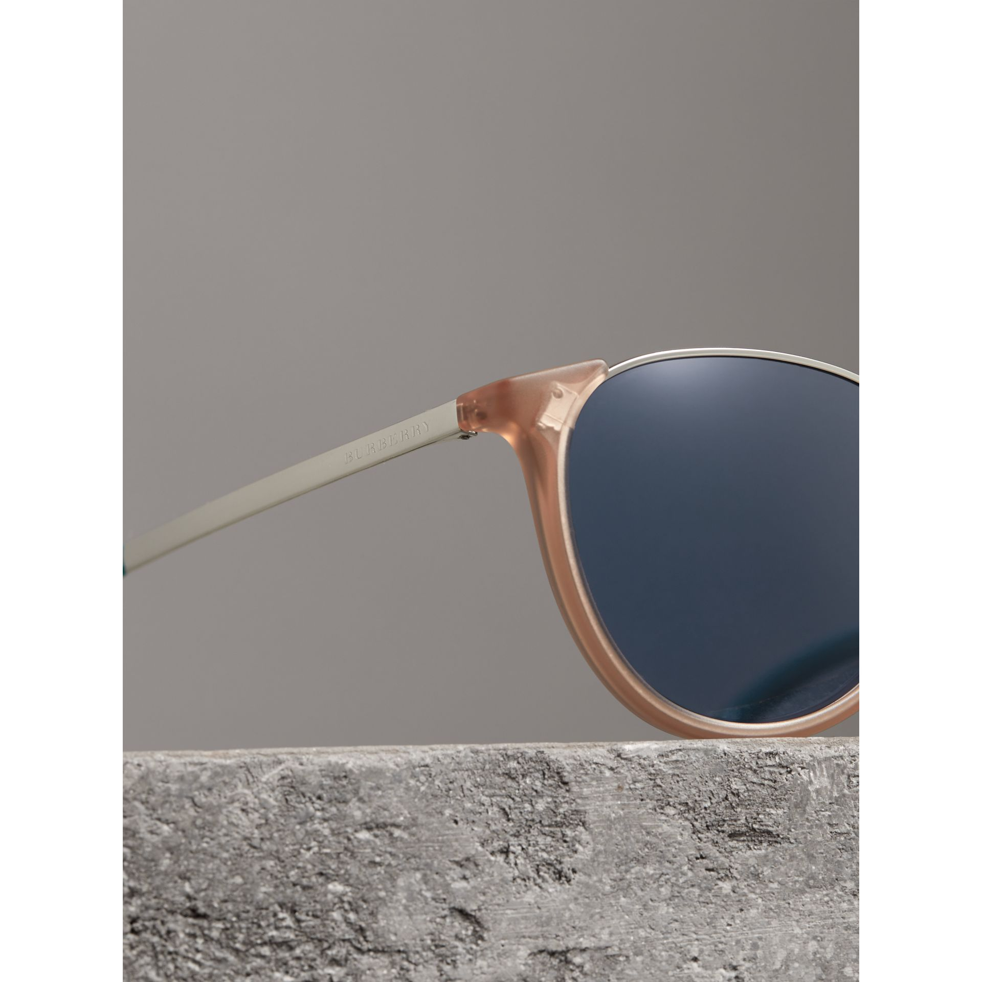 Keyhole Pilot Round Frame Sunglasses in Nude - Men | Burberry United Kingdom - gallery image 1