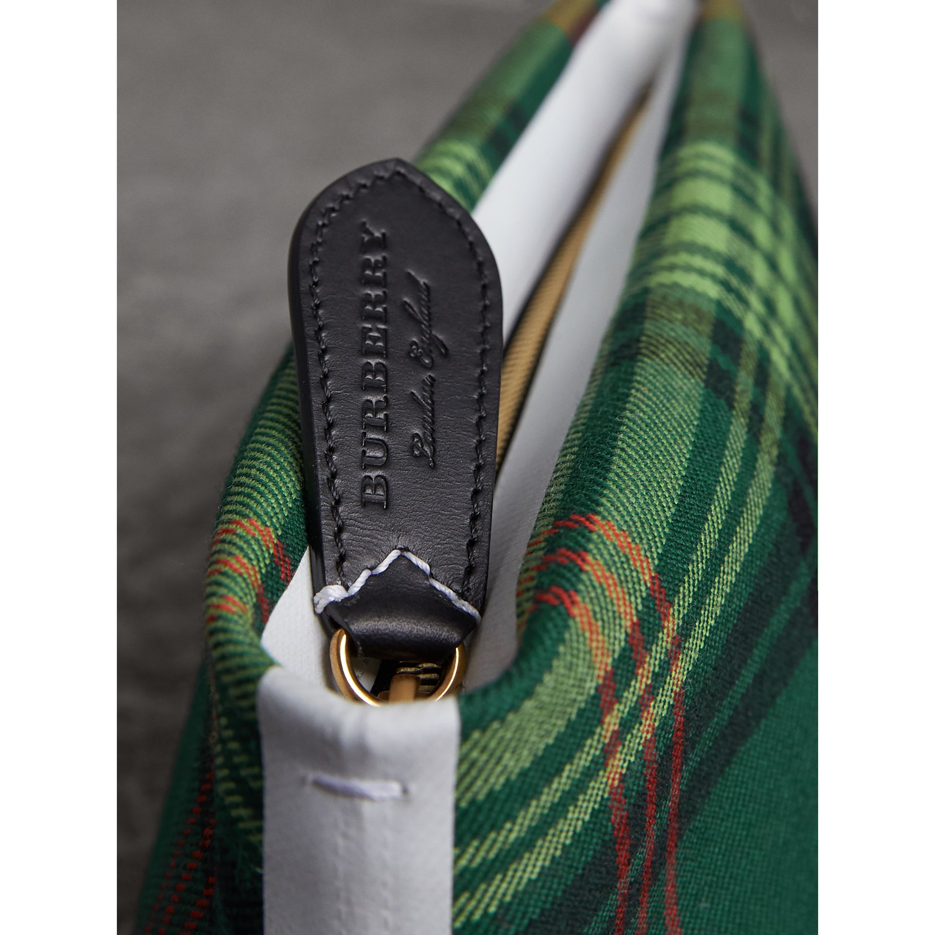 Tartan Cotton Clutch in Pine Green/blue | Burberry Australia - gallery image 2