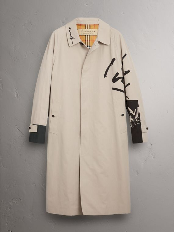 Burberry x Kris Wu Gabardine Car Coat in Stone - Men | Burberry Singapore - cell image 3