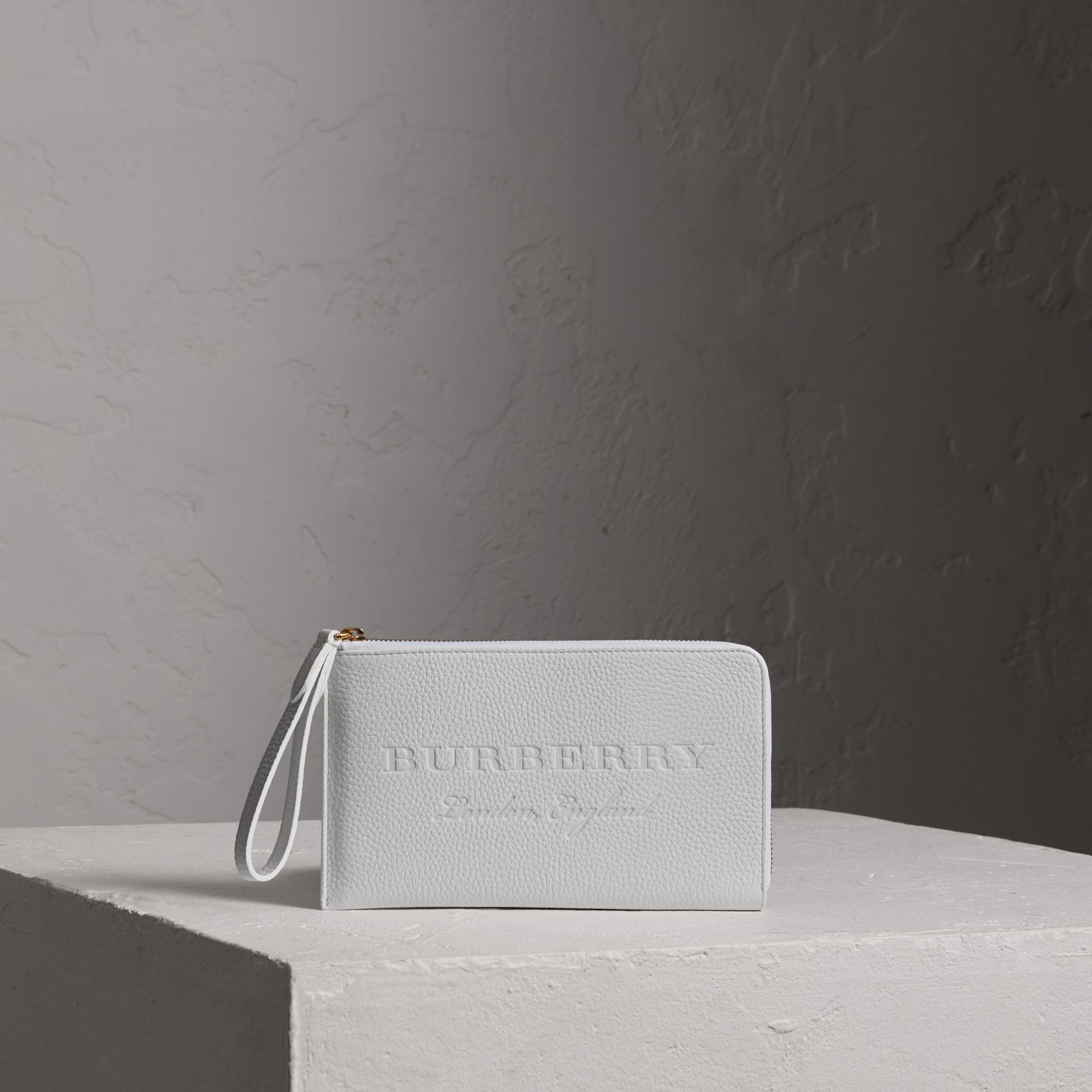 Embossed Leather Travel Wallet in Chalk White | Burberry Canada - gallery image 0
