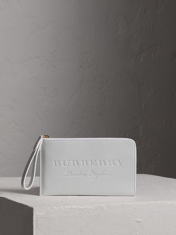 Embossed Leather Travel Wallet in Chalk White