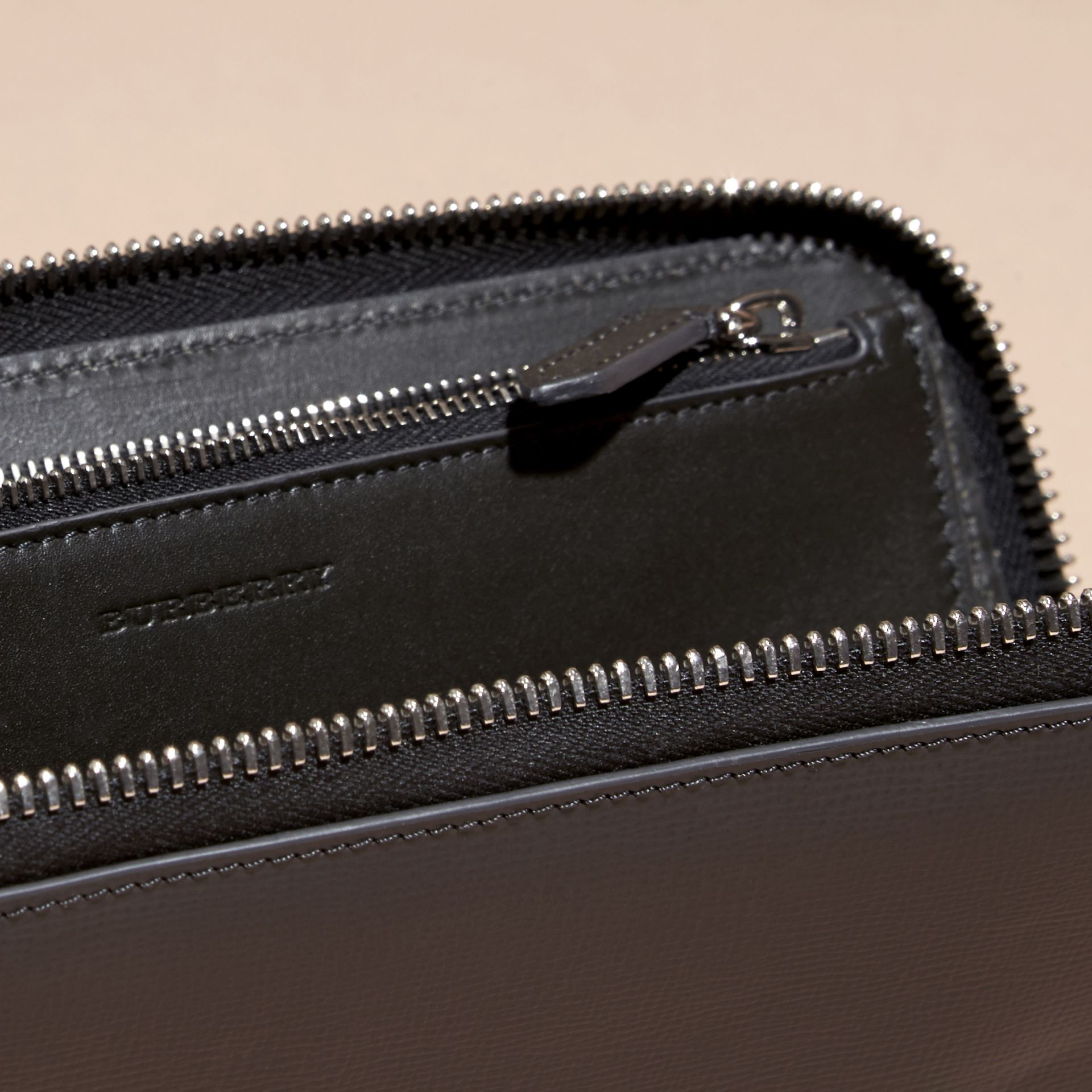 Charcoal/black Colour Block London Leather Ziparound Wallet Charcoal/black - gallery image 5