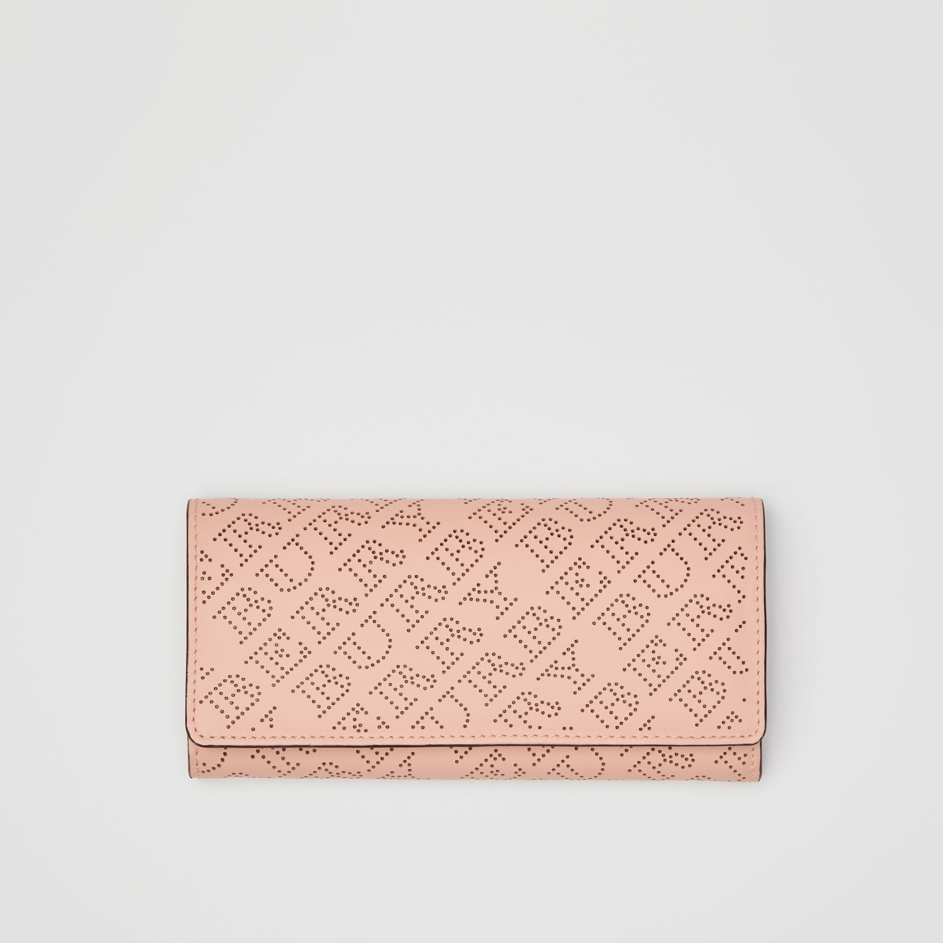 Perforated Logo Leather Continental Wallet in Pale Fawn Pink - Women | Burberry Australia - gallery image 0