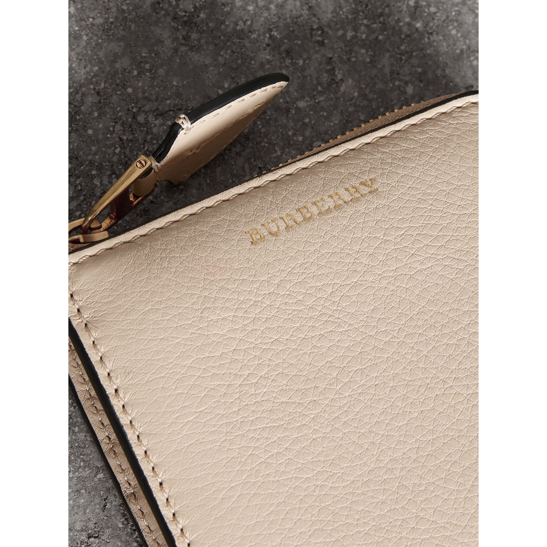 Grainy Leather Square Ziparound Wallet in Limestone - Women | Burberry Australia - gallery image 1