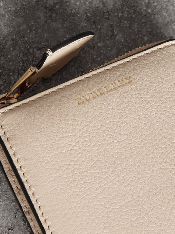 Grainy Leather Square Ziparound Wallet in Limestone - Women | Burberry - cell image 1