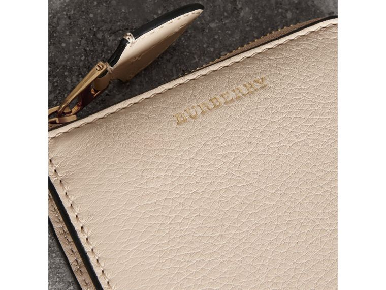Grainy Leather Square Ziparound Wallet in Limestone - Women | Burberry Hong Kong - cell image 1