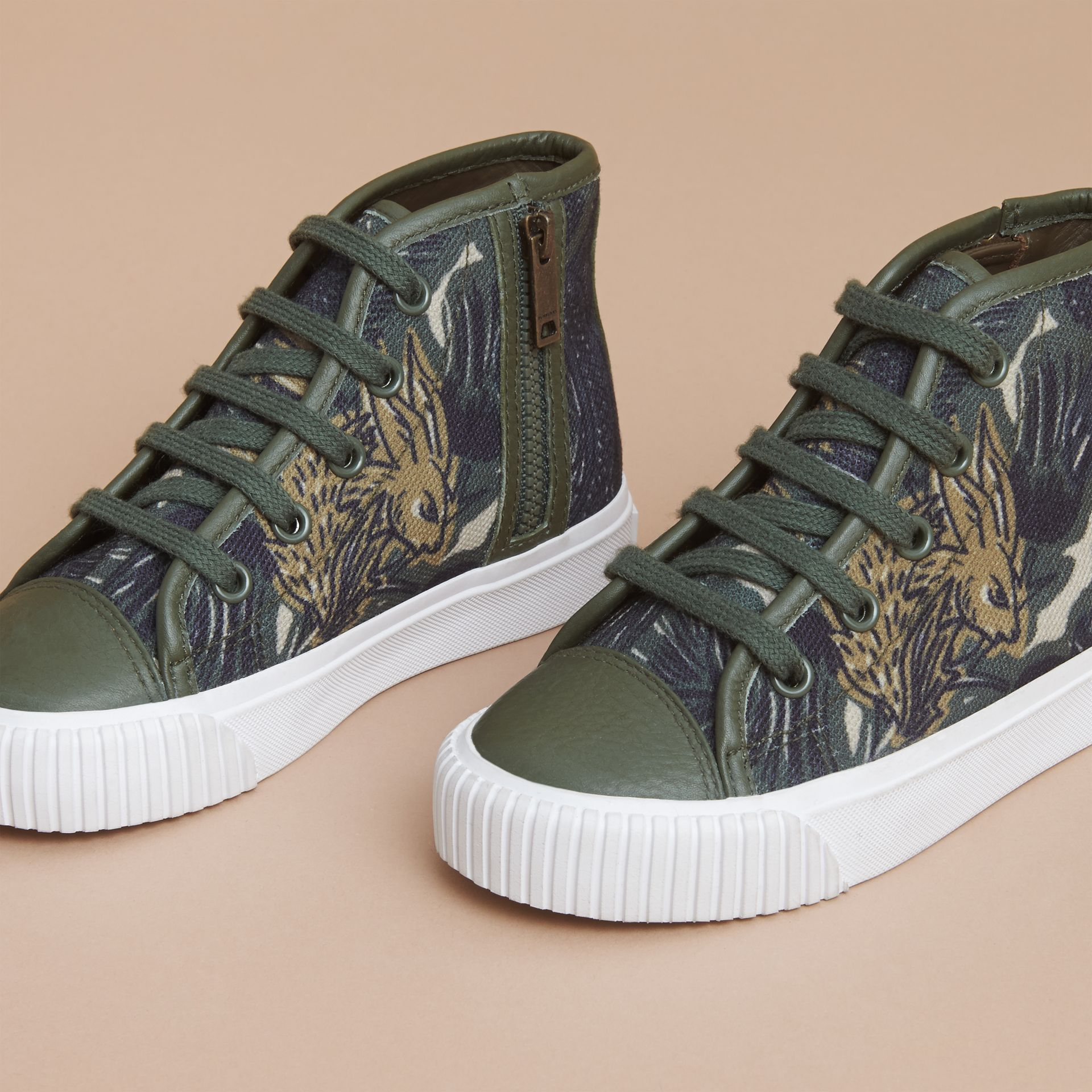Beasts Print Cotton and Leather High-top Trainers in Clay Green | Burberry Singapore - gallery image 3