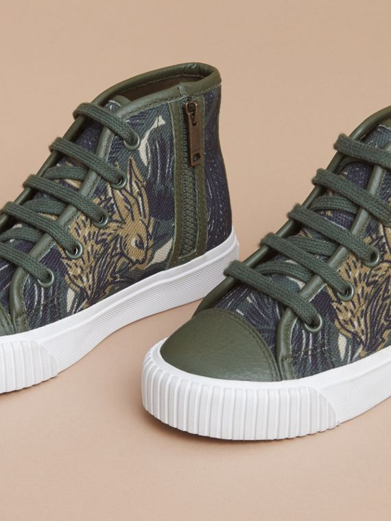 Beasts Print Cotton and Leather High-top Trainers in Clay Green | Burberry Singapore - cell image 2