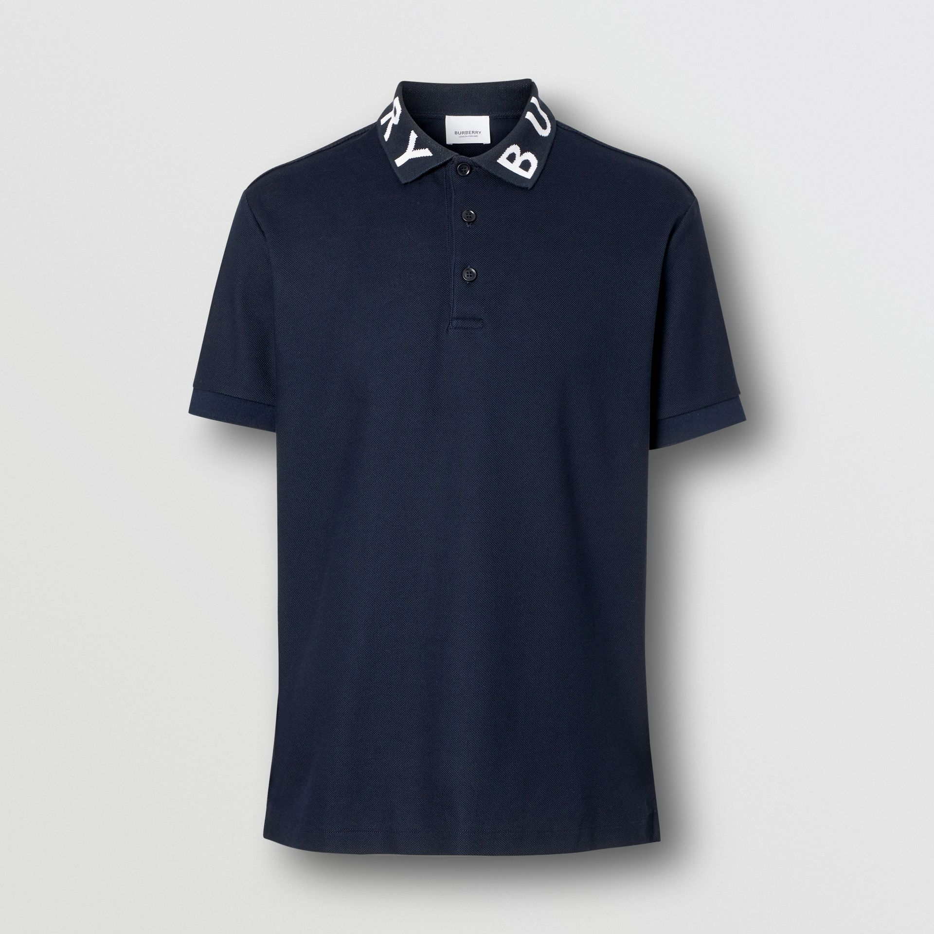 Logo Intarsia Cotton Piqué Polo Shirt in Navy - Men | Burberry - gallery image 3