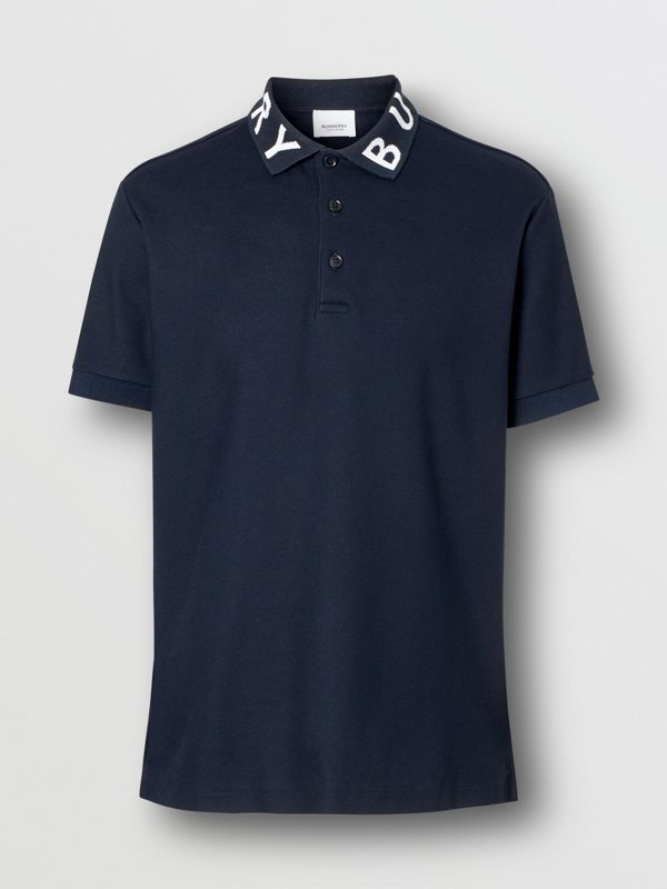 Logo Intarsia Cotton Piqué Polo Shirt in Navy - Men | Burberry - cell image 3