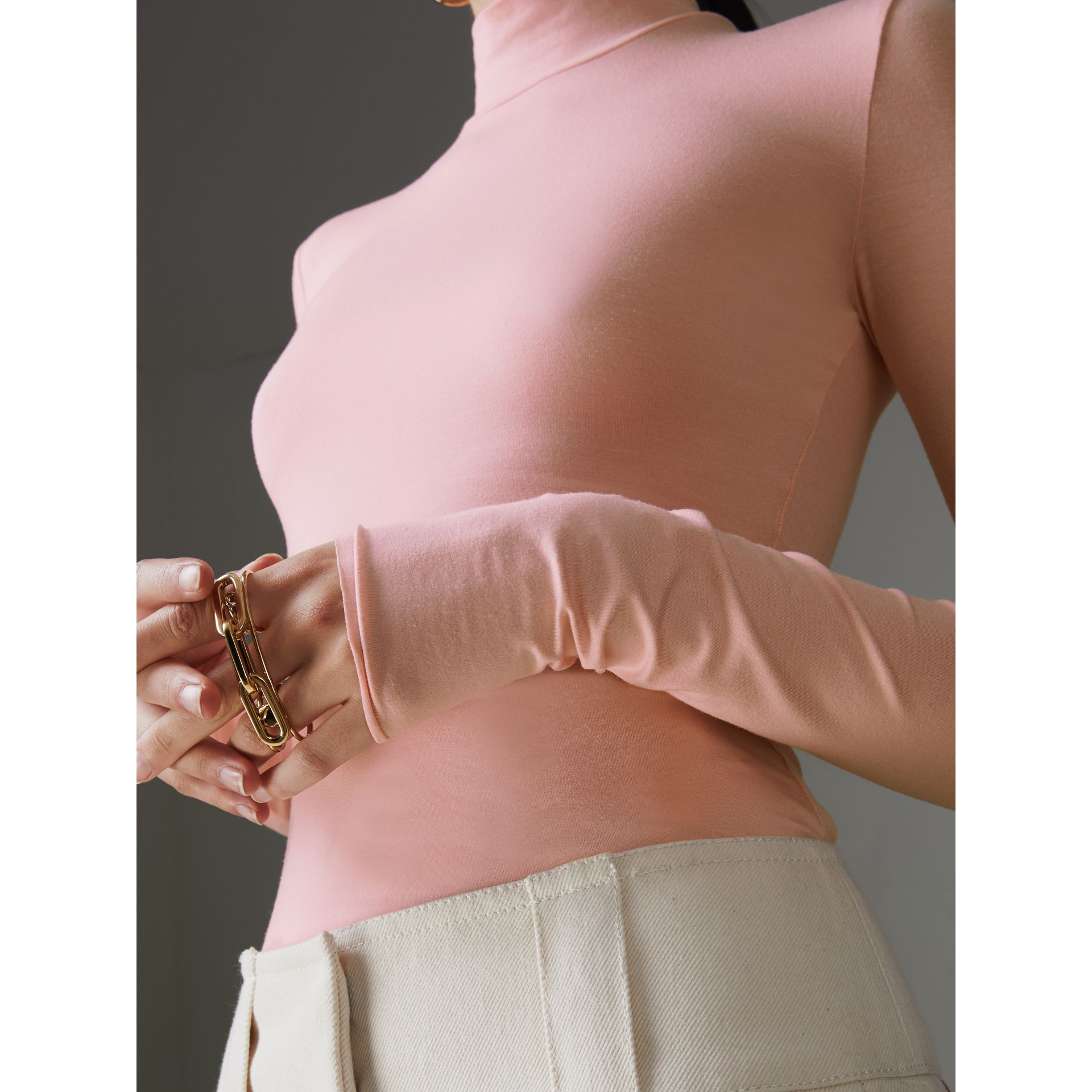 Stretch Modal Silk Turtleneck Top in Light Pink - Women | Burberry United Kingdom - gallery image 1